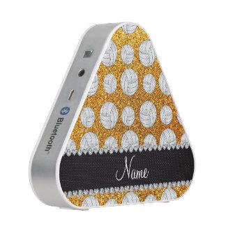 Custom name yellow glitter volleyballs bluetooth speaker