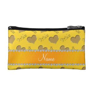 Custom name yellow gold bride hearts cosmetic bags