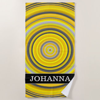 Custom Name + Yellow & Gray Nested Circles Pattern Beach Towel