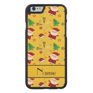 Custom name yellow lacrosse christmas pattern carved® maple iPhone 6 slim case