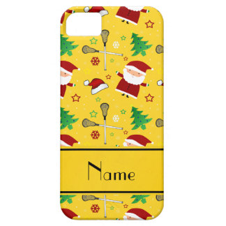 Custom name yellow lacrosse christmas pattern iPhone 5/5S cases
