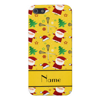 Custom name yellow lacrosse christmas pattern cover for iPhone 5/5S