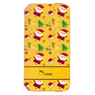 Custom name yellow lacrosse christmas pattern incipio watson™ iPhone 6 wallet case