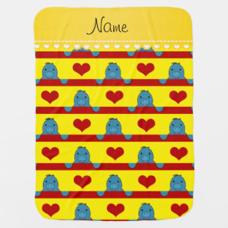 Custom name yellow manatees red hearts stripes baby blanket