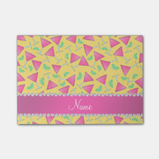 Custom name yellow pink cosmos limes post-it® notes