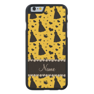 Custom name yellow princess hearts stars crown carved® maple iPhone 6 case