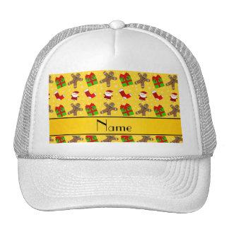 Custom name yellow santas gingerbread mesh hats