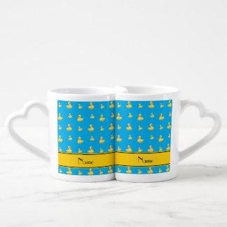 Custom name yellow stripe sky blue rubber duck lovers mug