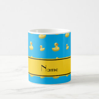 Custom name yellow stripe sky blue rubber duck mugs