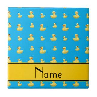 Custom name yellow stripe sky blue rubber duck small square tile