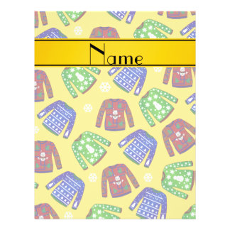 Custom name yellow ugly christmas sweater pattern 21.5 cm x 28 cm flyer
