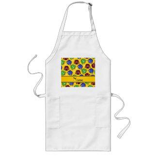 Custom name yellow ugly christmas sweater pattern long apron