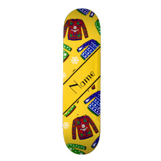 Custom name yellow ugly christmas sweater pattern skate board deck