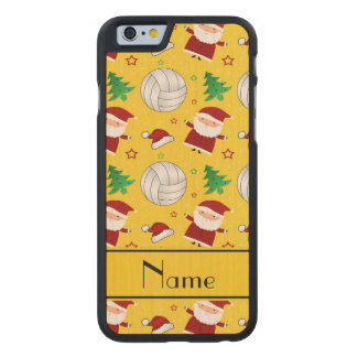 Custom name yellow volleyball christmas pattern carved® maple iPhone 6 case
