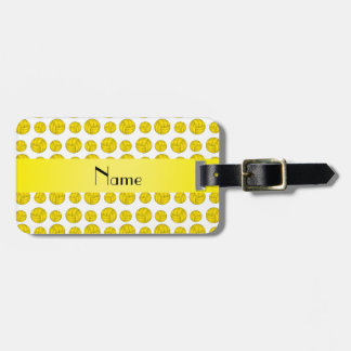 Custom name yellow volleyball pattern luggage tag