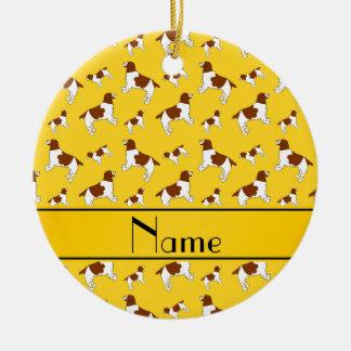 Custom name yellow Welsh Springer Spaniel dogs Round Ceramic Decoration