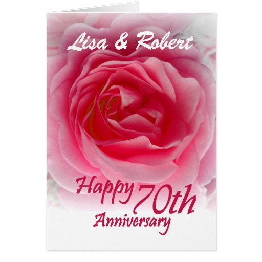CUSTOM NAMES - 70th Anniversary with Pink Rose Cards
