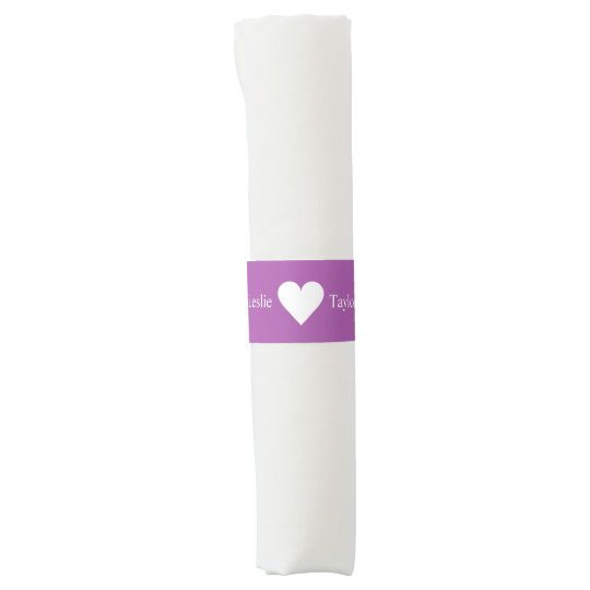 Custom names & colour heart napkin bands