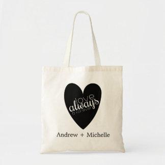 Custom Names Love Black Heart Tote Bag Bag