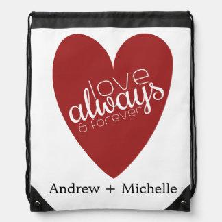 Custom Names Love Red Heart Drawstring Backpack