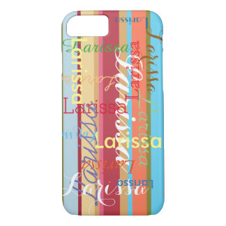 custom names striped pattern typographic iPhone 7 case