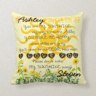 Custom Names Sunshine Gift Throw Pillow