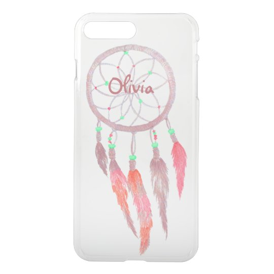 Custom Native American Dream Catcher Pink Feather iPhone