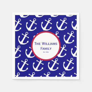 Custom Nautical Anchor Blue & White Paper Napkins Disposable Serviette