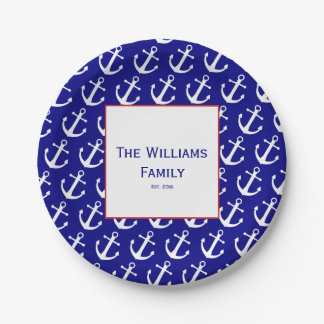 Custom Nautical Anchor Blue & White Paper Plates