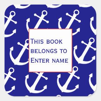 Custom Nautical Anchor Pattern Bookplate Sticker