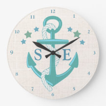 Custom Nautical Anchor Stars Aqua Burlap Clock