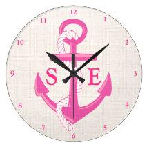 Custom Nautical Anchor Stars Pink Burlap Clock