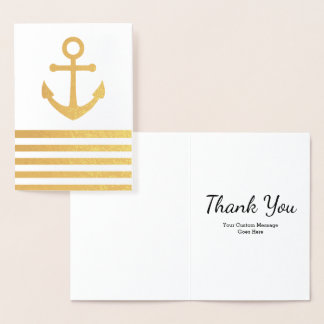 Custom Nautical Anchor Striped Thank You Card