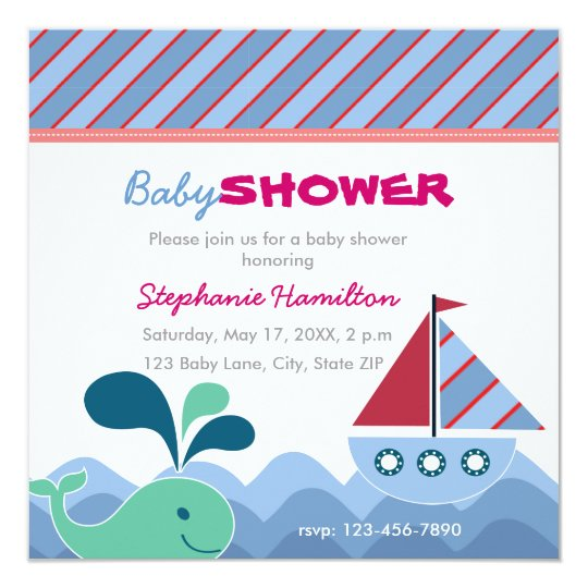 Custom nautical Baby Shower Card