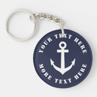 Custom nautical boat anchor keychain for sailors