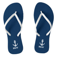 f40d15bfa8960b Custom nautical monogram beach wedding flip flops