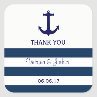 Custom Nautical Navy Blue Stripes Anchor Wedding Square Sticker