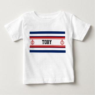 Custom Nautical Navy White Stripes Baby T-Shirt