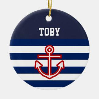 Custom Nautical Navy White Stripes Christmas Ornament