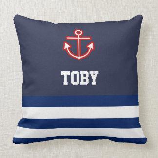 Custom Nautical Navy White Stripes Cushion