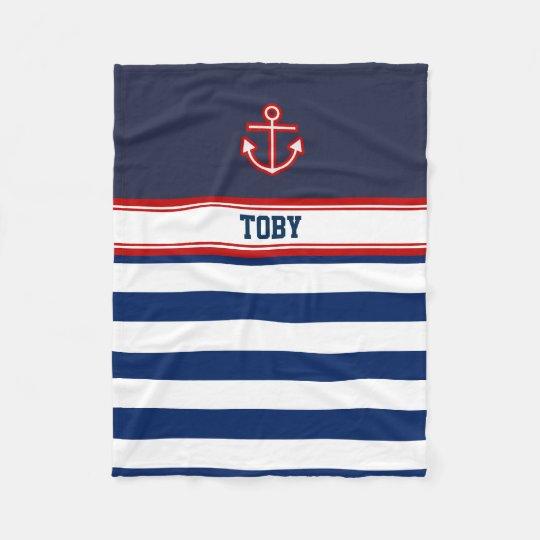 Custom Nautical Navy White Stripes Fleece Blanket