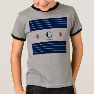 Custom Nautical Navy White Stripes T-Shirt