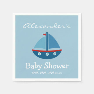 Custom nautical sail boat baby shower napkins disposable serviettes