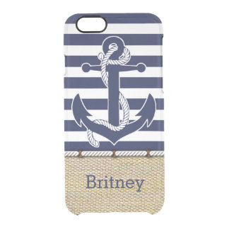 Custom Nautical Trendy Anchor Stripes Pattern Clear iPhone 6/6S Case