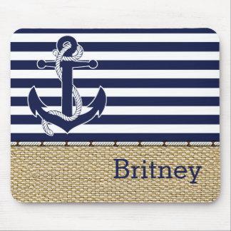 Custom Nautical Trendy Anchor Stripes Pattern Mouse Mat