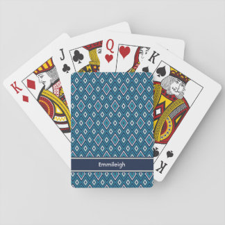 Custom Navy Blue and White Diamond Pattern Playing Cards