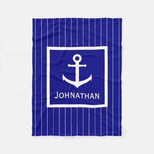 Custom Navy Blue and White Nautical Blanket