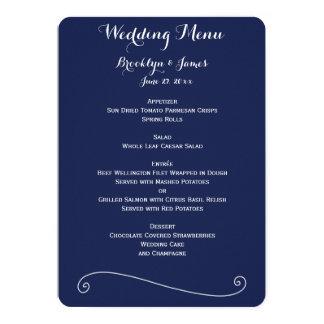 Custom Navy Blue And White Wedding Menu Card