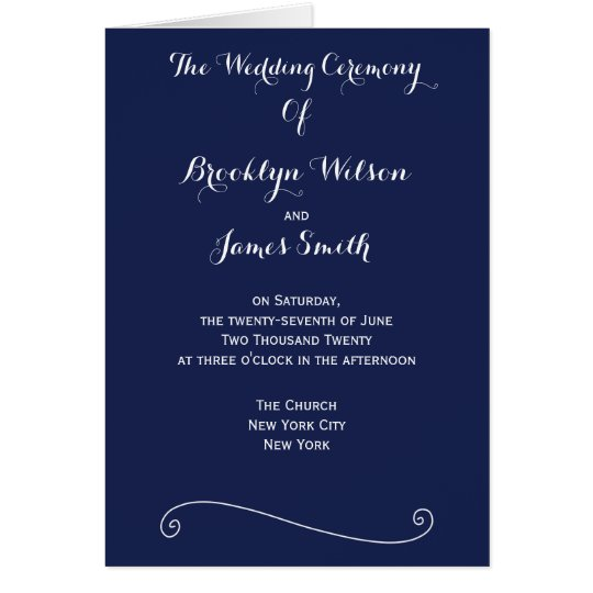 Custom Navy Blue And White Wedding Programs Card