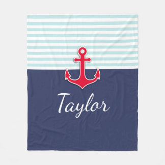 Custom Navy Blue Mint Striped Nautical Design Fleece Blanket